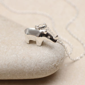 Personalised Sterling Silver Rhino Necklace