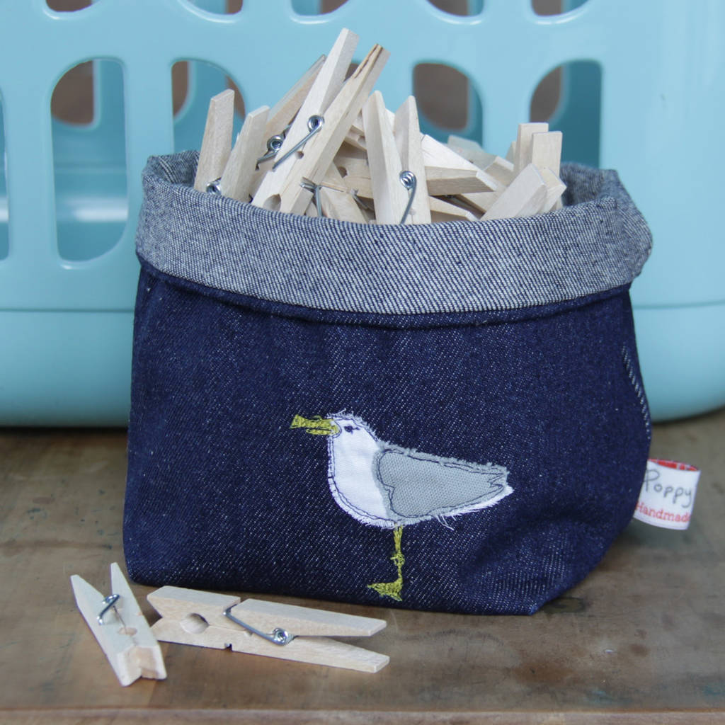 Seagull Embroidered Fabric Storage Pot