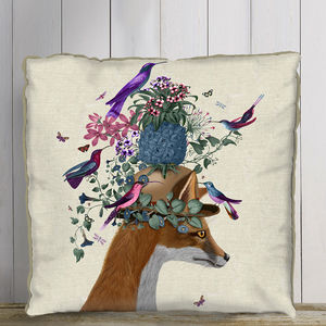 Fox And Pineapple Decorative Cushion