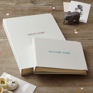 Personalised Baby Photo Album In Linen - 1st birthday gifts