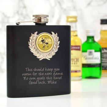 Personalised Hip Flask With A Football Design