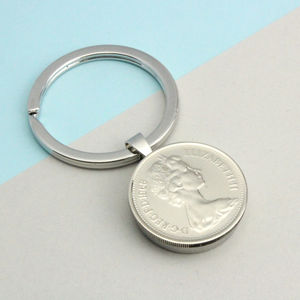 Personalised 1968 50th Birthday Five Pence Keyring - mens