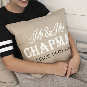 Luxurious Mr And Mrs Linen Wedding Gift Cushion