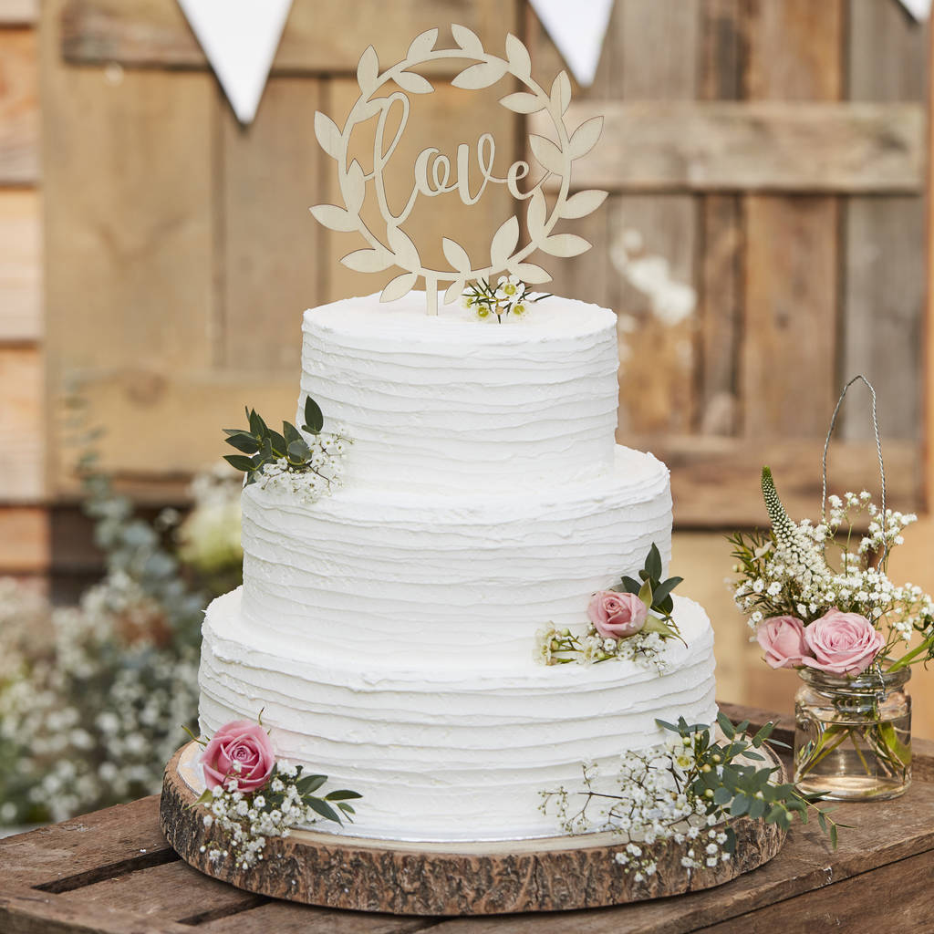 Wooden Love Wedding Cake Topper Decoration