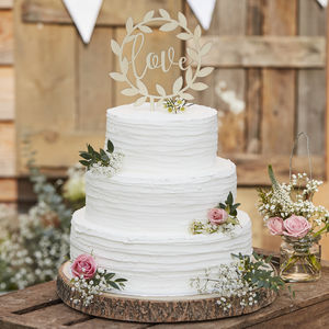 Wooden Love Wedding Cake Topper Decoration - cake toppers & decorations
