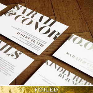 Marquise Foil Wedding Invitation - order of service & programs