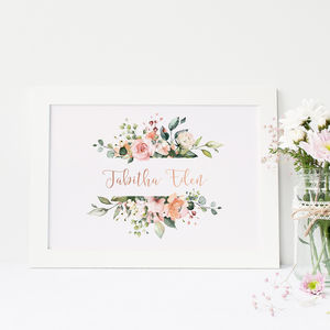 Personalised Floral Banner Name Print