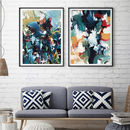 Abstract Art Print Set Of Two Modern Blue Wall Art
