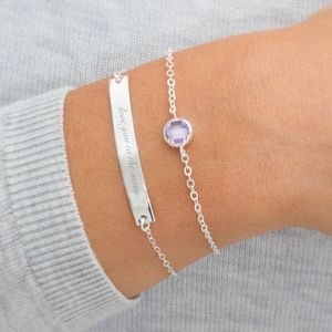 Personalised Skinny Birthstone And Bar Bracelet Set - bracelets & bangles