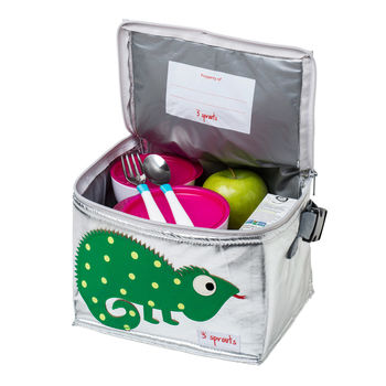food inside insulated silver lunch bag with iguana design