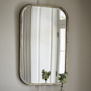 Antiqued Silver Slim Rectangle Mirror - mirrors