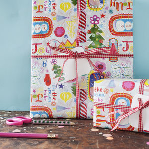 Joy To The World Christmas Wrapping Paper Optional Tags - gift wrap sets
