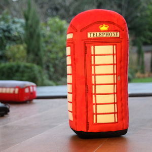 London Telephone Box 3D Toy Cushion - patterned cushions