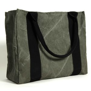 Green Canvas Shopper Tote Shoulder Bag/Purse Vegan