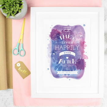 Personalised Wedding 'Happily Ever After' Art Print
