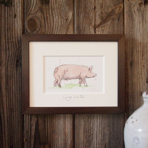 Limited Edition Pig Print. Large White