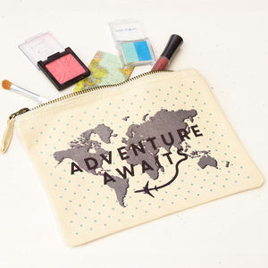 'Adventure Awaits' Cosmetic Pouch - make-up & wash bags