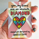 Rainbow Diamond Heart Pin