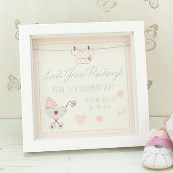 Personalised Vintage Baby Box Framed Print