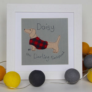 Dachshund Personalised Picture - textile art