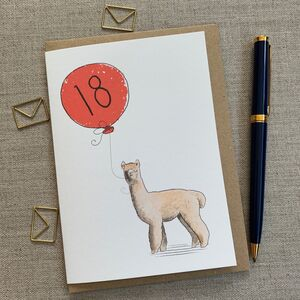 Personalised Alpaca Birthday Card