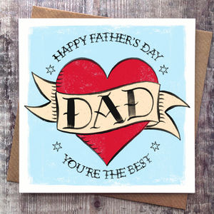 Fathers Day Dad Tattoo Card