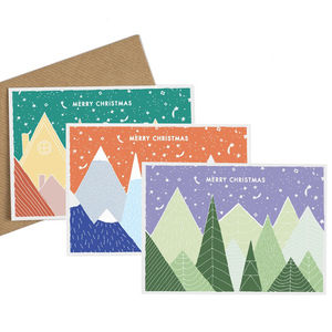 Set Of Six Alpine Christmas Cards