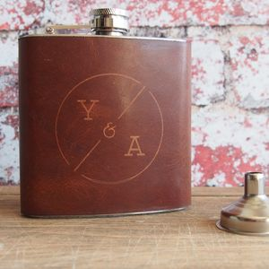 Leather Wedding Hip Flask With Monogram