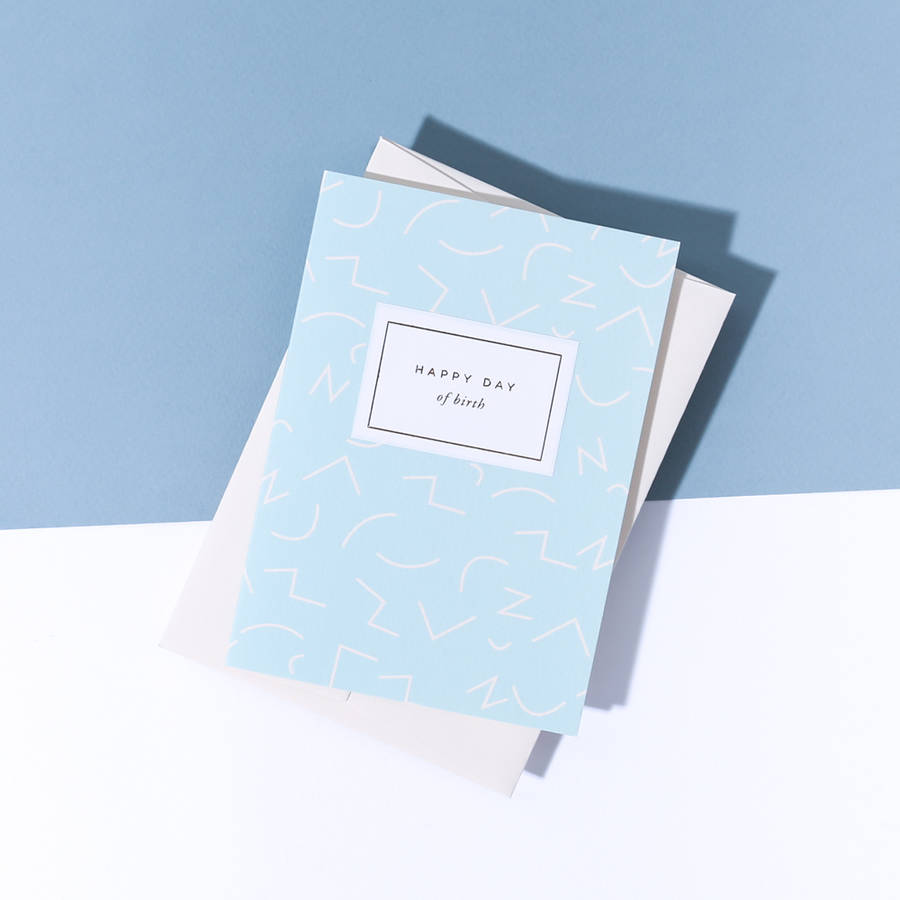 'Happy Day Of Birth' Wiggle Card, Vellum White Envelope