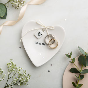 'Mr And Mr' Ceramic Ring Dish - wedding jewellery