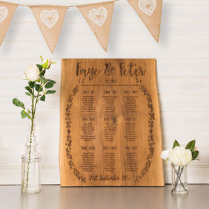 Personalised Laurel Leaf Oak Table Plan - wedding stationery