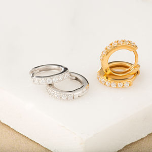 Bling Hinge Hoop Earrings - earrings
