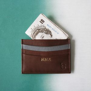 Personalised Luxury Leather Card Sleeve - mens