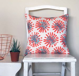 Small Square Red Dandelion Cushion