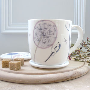 Dandelion And Bird, Bone China Mug - mugs