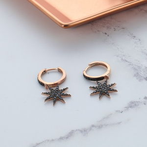 Black Star Drop Pave Earrings