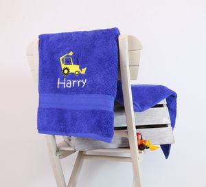 Kids Personalised Digger Bath Towel - bed, bath & table linen