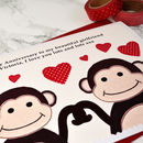 Personalised Anniversary Card - Two Monkeys In Love