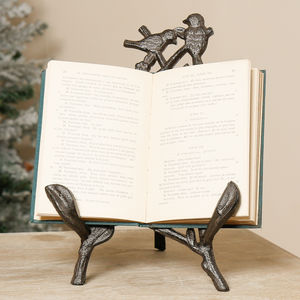 Iron Winter Love Birds Book Easel Stand