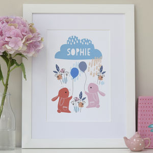 Personalised Children's Bunnies And Balloons Print