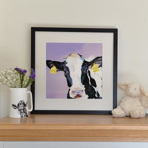Personalised New Baby Cow Print