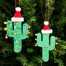 Happy Cactus Christmas Tree Hanging Decoration
