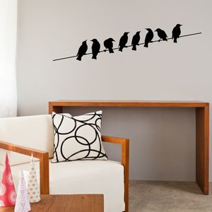 Birds On Wire Vinyl Wall Sticker - wall stickers