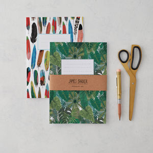 Botanical And Feather Nature Notebook Set Of Two