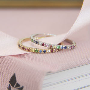 Rainbow Eternity Rings - summer sale