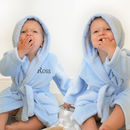 Personalised Twins Soft Baby Dressing Gowns In Blue