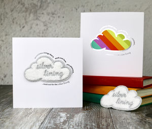 Silver Lining Card With Iron On Patch - sympathy & sorry cards