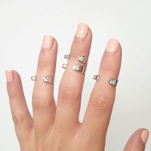 Crystal Cuff Midi Ring Set Of Four - rings