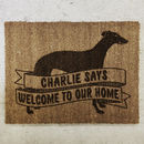 Personalised Dog Breed Doormat With Greyhound