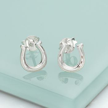 Silver Lucky Horseshoe Stud Earrings